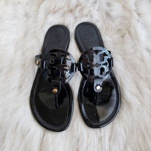 Tory Burch Black Patent Miller Sandals Size 8M